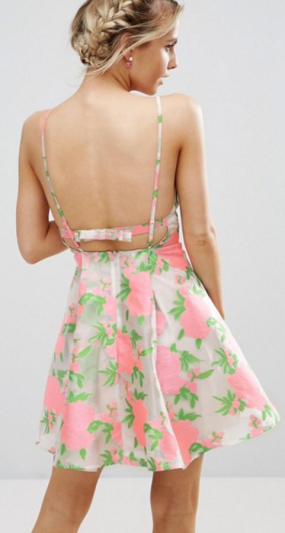 Floral Organza Pinny Mini Prom Dress