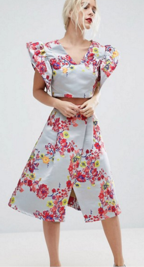 Floral Jacquard Crop Top & Skirt Co-Ord