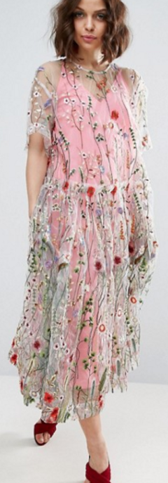 Embroidered Smock Longer Length Midi Dress