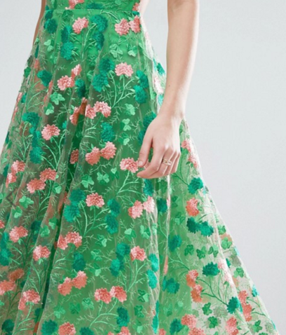 Floral Embroidered Backless Pinny Midi Prom Dress